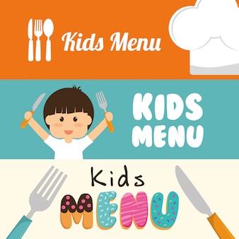 Diseño de menú infantil.