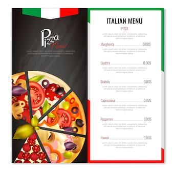 Diseño de menú de pizza italiana
