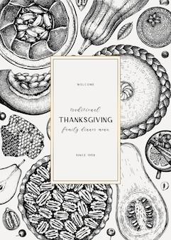 Diseño de menú de postres de acción de gracias
