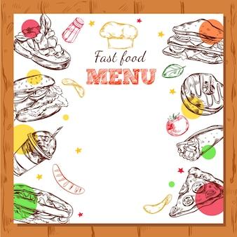 Diseño de menú de restaurante de comida rápida