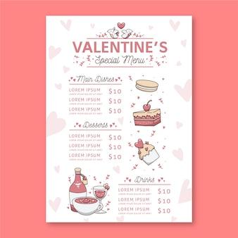 Diseño del menú del restaurante del día de san valentín