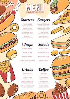 Diseño de menú de restaurante digital dibujado a mano