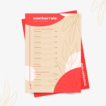 Diseño de menú de restaurante digital