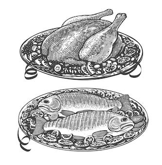 Diseño de menú de restaurante con pollo o pavo asado y pescado.