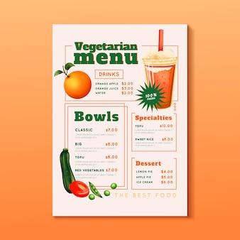 Diseño de menú vegetariano en acuarela