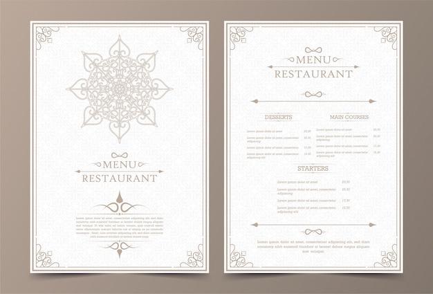 Diseño de menú vintage con elementos ornamentales.