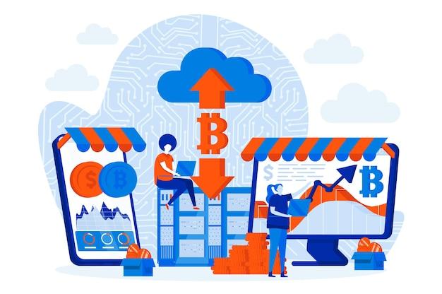 Diseño de mercado de criptomonedas con personajes de personas.