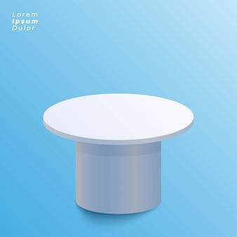 Diseño de la mesa de exhibición sobre fondo azul