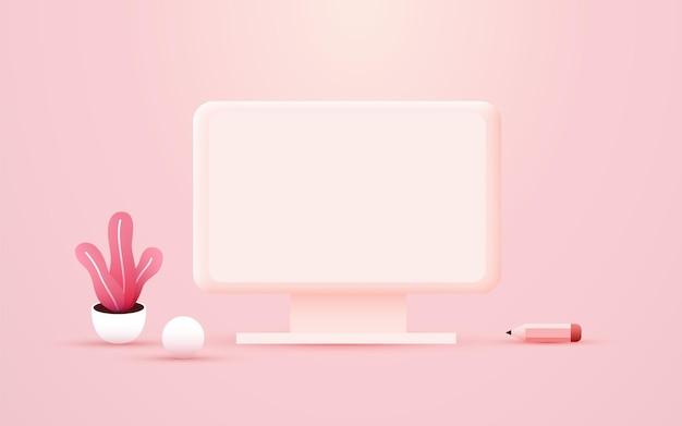 Diseño de mesa de oficina de concepto de lugar de trabajo para computadora de escritorio de trabajo co
