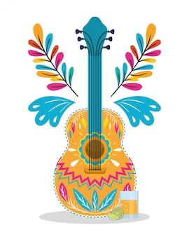 Diseño mexicano de guitarra y tequila, hito del turismo cultural de méxico tema latino y fiesta ilustración vectorial