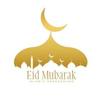 Diseño de la mezquita de oro creativo para eid festival de mubarak