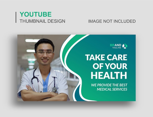 Diseño de miniaturas médicas de youtube y plantilla de banner web