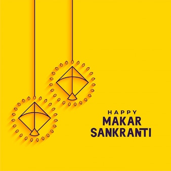 Diseño minimalista amarillo de la tarjeta de felicitación del festival de makar sankranti
