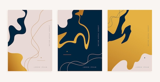 Diseño minimalista del cartel del estilo de las líneas fluidas doradas abstractas