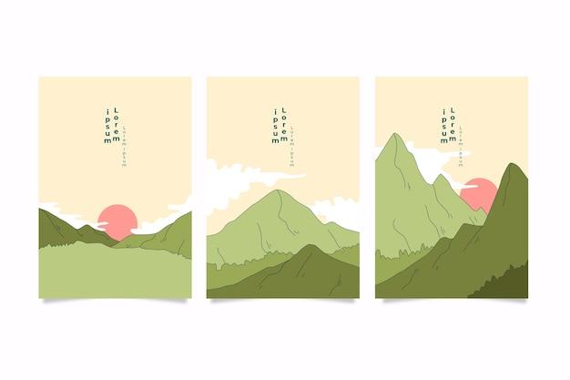 Diseño minimalista de la colección de portadas japonesas