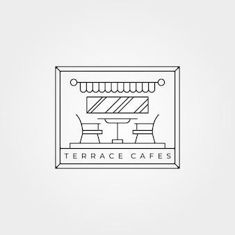 Diseño minimalista del ejemplo del arte de la línea del icono de los cafés de la terraza