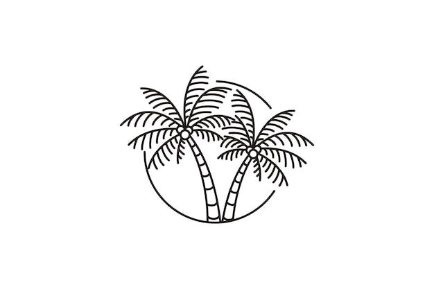 Diseño minimalista del ejemplo del símbolo del vector del logotipo del arte de la línea de la palmera