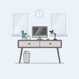 Diseño minimalista de escritorio de oficina