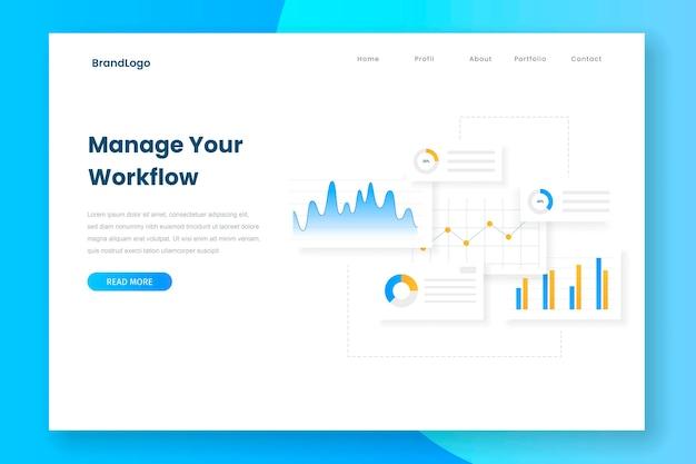 Diseño minimalista gestiona tu página de inicio de flujo de trabajo
