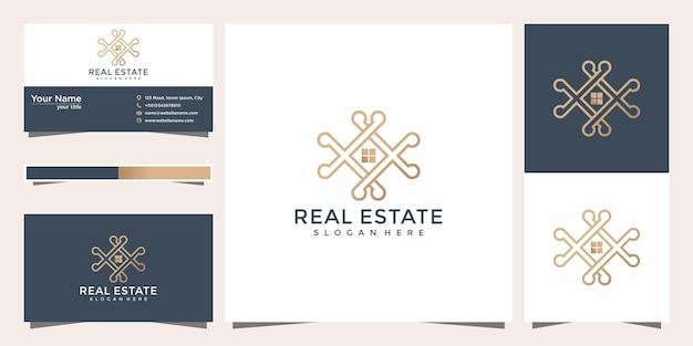 Diseño minimalista de inspiración de estilo de arte de línea de hogar de lujo. estilo de línea de inicio de logotipo con plantilla de tarjeta de visita.