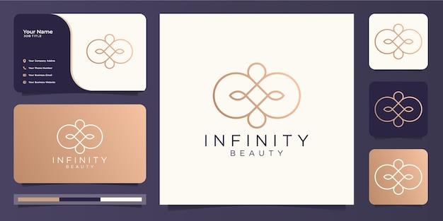 Diseño minimalista de logotipo y tarjeta de presentación de infinity