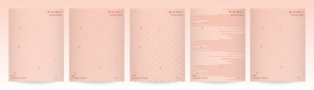Diseño minimalista de portada moderna con conjunto de fondo de línea geométrica abstracta