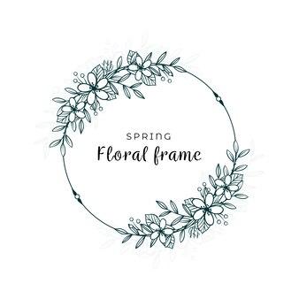Diseño minimalista de primavera de hojas y flores.
