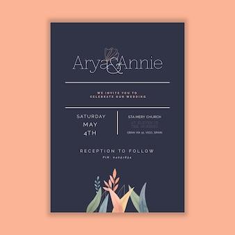 Diseño minimalista de tarjetas de boda
