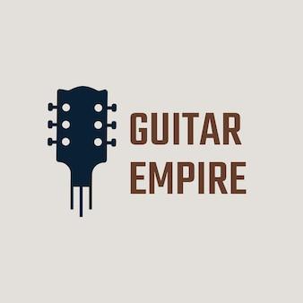 Diseño minimalista de vector de logotipo de guitarra con texto de edición