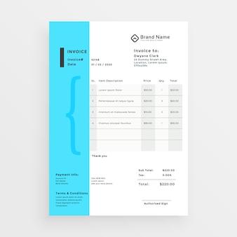 Diseño mínimo de plantilla de factura creativa
