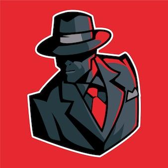 Diseño misterioso de personaje de gángster