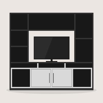 Diseño de mobiliario de sala de entretenimiento con tv.