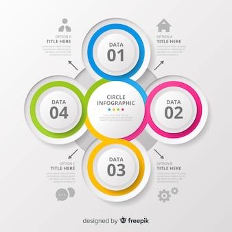 Diseño de moderna infografía circular