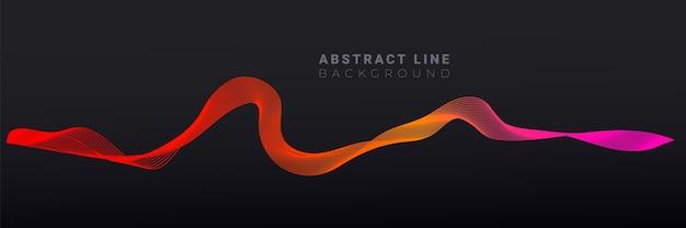 Diseño moderno abstracto con ondas de línea fluida degradado de moda sobre fondo oscuro para folleto de diseño, sitio web, volante.