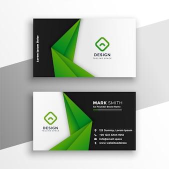 Diseño moderno abstracto verde de la tarjeta de visita