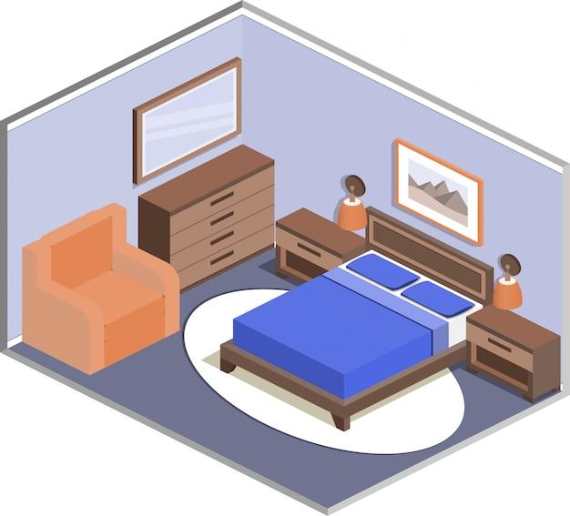 Diseño moderno del acogedor interior del dormitorio en estilo isométrico.