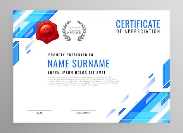 Diseño moderno azul certificado de negocios