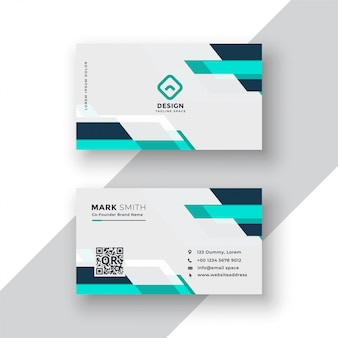 Diseño moderno azul geométrico de la tarjeta de visita