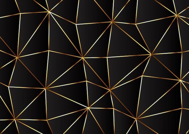 Diseño moderno de baja poli en colores dorado y negro.