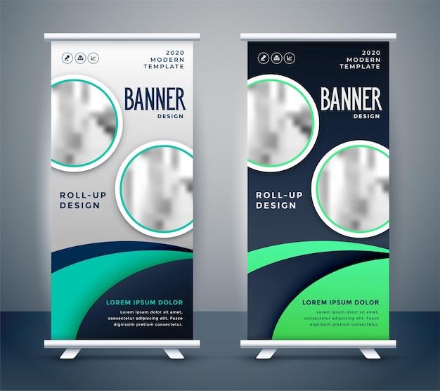 Diseño moderno de banner enrollable de pie