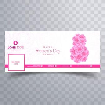 Diseño moderno de banner de portada de facebook para el día de la mujer