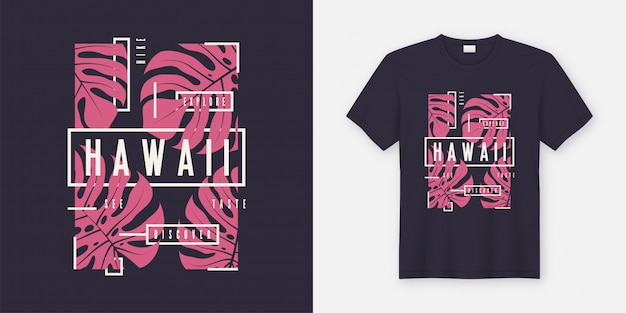 Diseño moderno de camiseta y ropa con estilo de hawaii con hojas tropicales