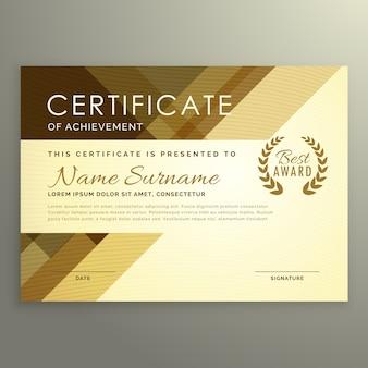 Diseño moderno de certificado en estilo premium