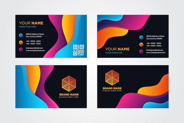Diseño moderno y colorido de la tarjeta de visita con un gráfico vibrante de colores llamativos, estilo fluido para el elemento. corte de papel ondulado