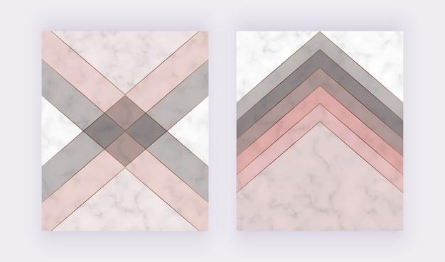Diseño moderno de cubierta geométrica con formas de triángulos rosas y grises y líneas doradas en la textura de mármol.