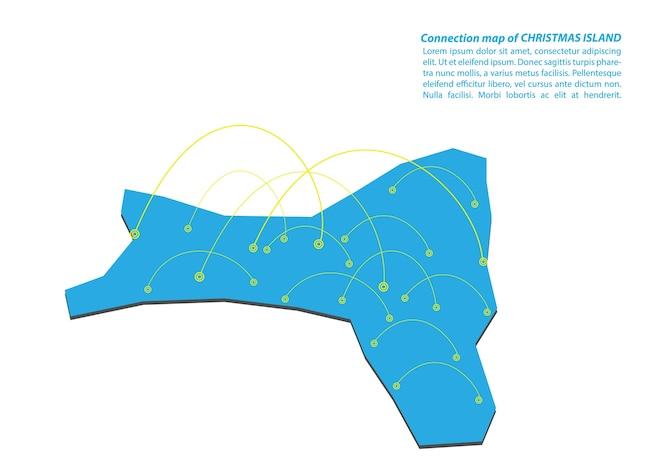 Diseño moderno de red de conexiones de mapa de isla de navidad
