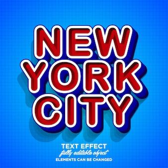 Diseño moderno de efecto de texto de la ciudad de nueva york