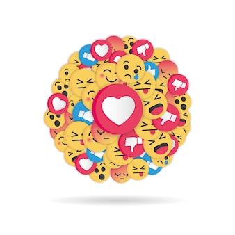 Diseño moderno emoji sobre fondo blanco