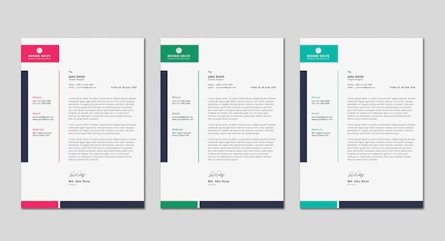 Diseño moderno y exclusivo de carta comercial
