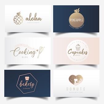Diseño moderno y femenino de tarjetas de visita de panadería con logotipo editable.